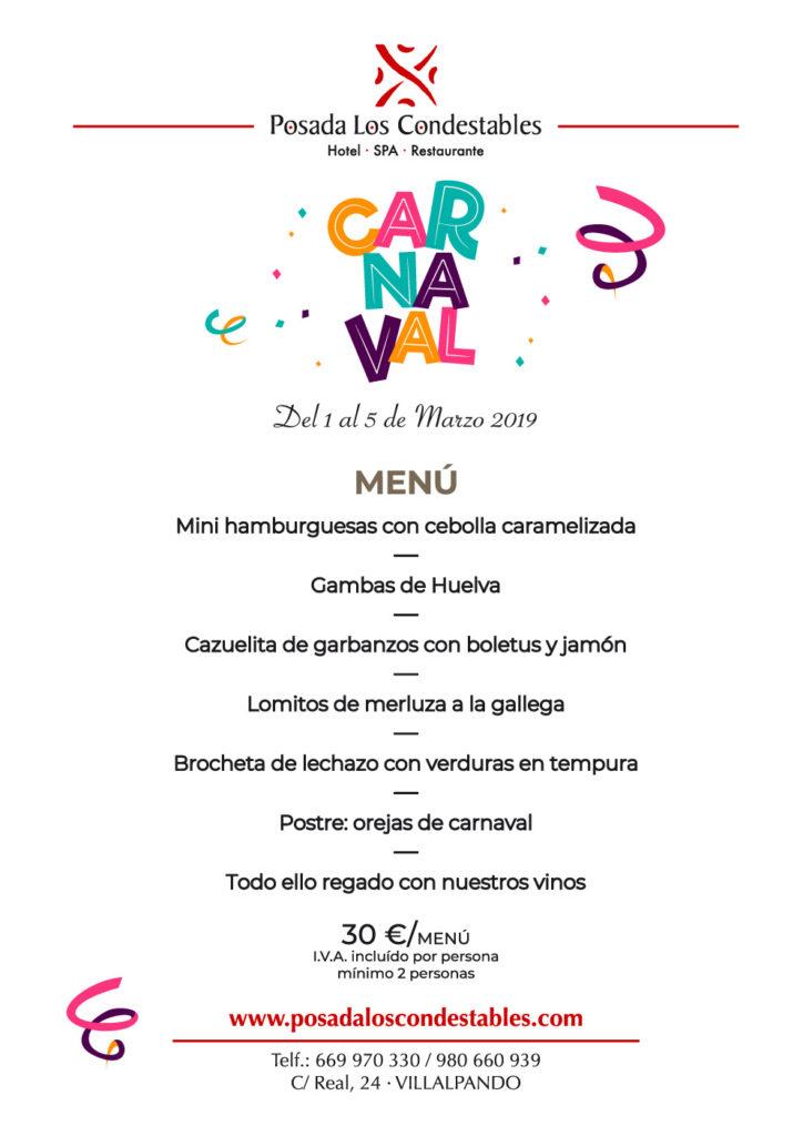 MENU CARNAVAL POSADA 2019